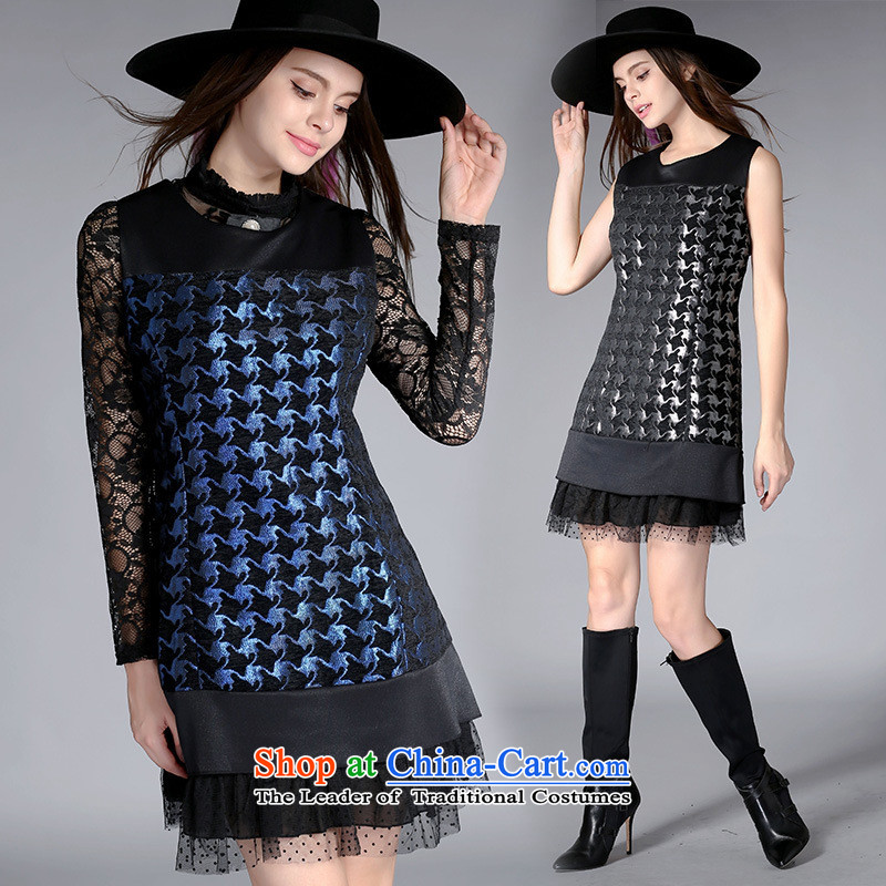 Mano-hwan's autumn 2015 new sleeveless dresses western jacquard chidori grid stitching lace sleeveless dresses 8118 Black Silver?5XL