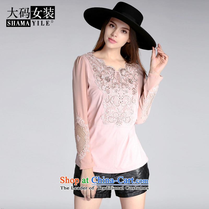 Mano-hwan's European site with the new 2015 Autumn engraving stitching long-sleeved T-shirt female Sau San larger lace forming the Netherlands 8063 Black燲XXL