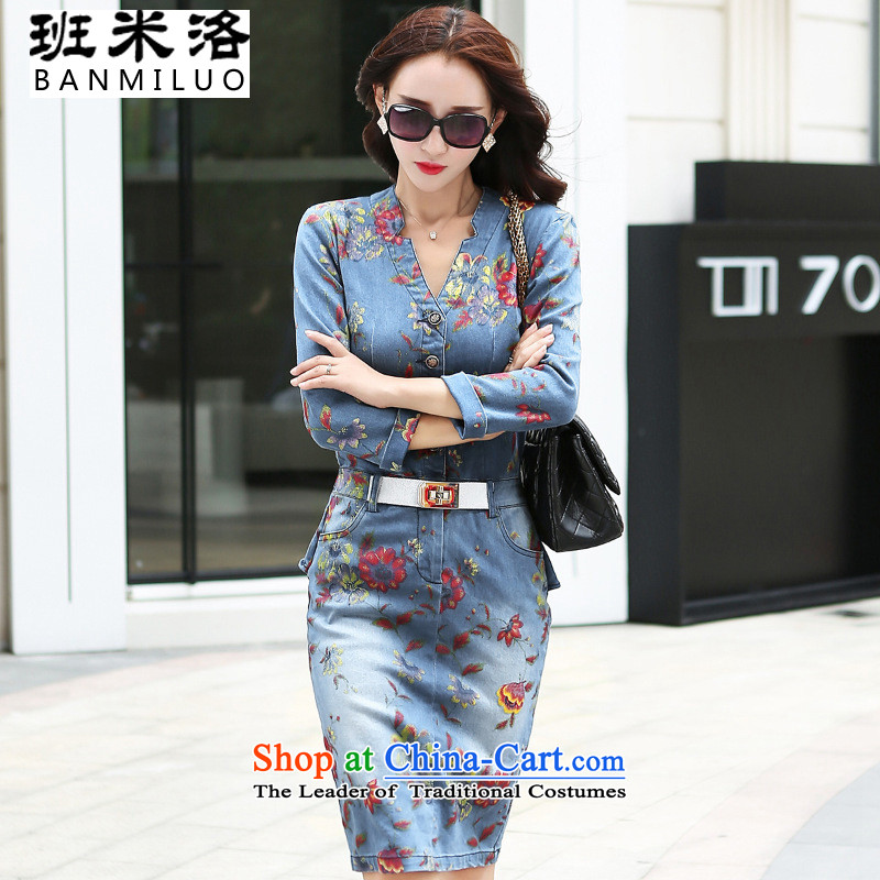 The Taliban Slobodan 015 Fall of higher-end temperament OL long-sleeved Sau San step stamp denim dress (with belts) Red Cherry Blossoms?M