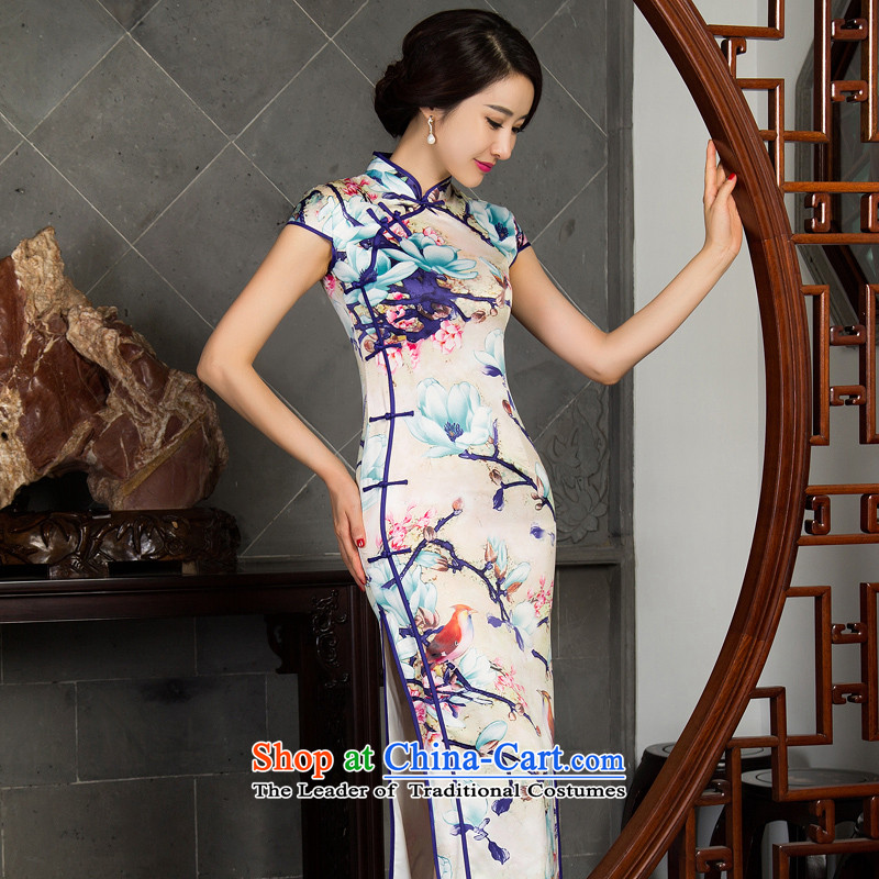 Load New autumn 2015 cheongsam dress retro improvement cuff qipao upscale Silk Cheongsam wedding dresses autumn scent?M