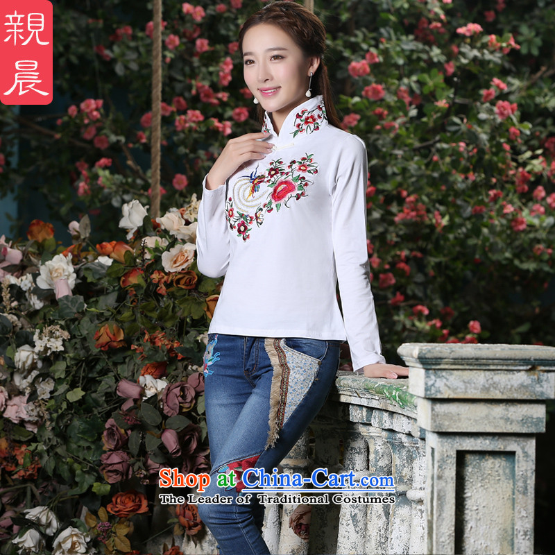 The pro-am new cheongsam shirt autumn and winter long-sleeved Chinese Antique style everyday improved nation Sau San Wind White燤