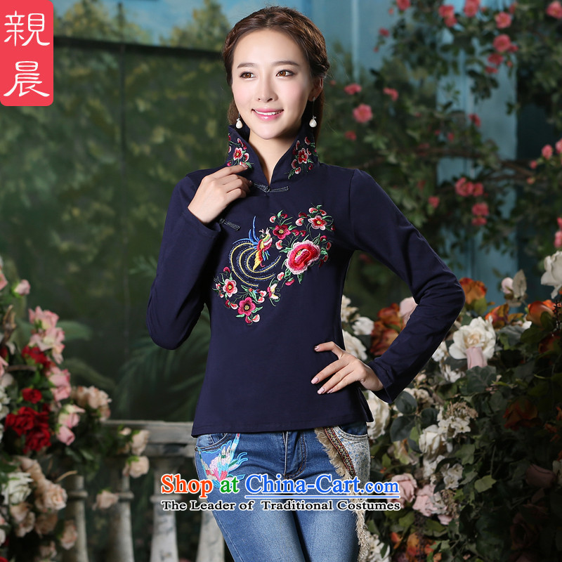 Pro-Chinese Antique national qipao morning shirt female new 2015 Fall/Winter Collections daily improved long-sleeved qipao Dark Blue?M