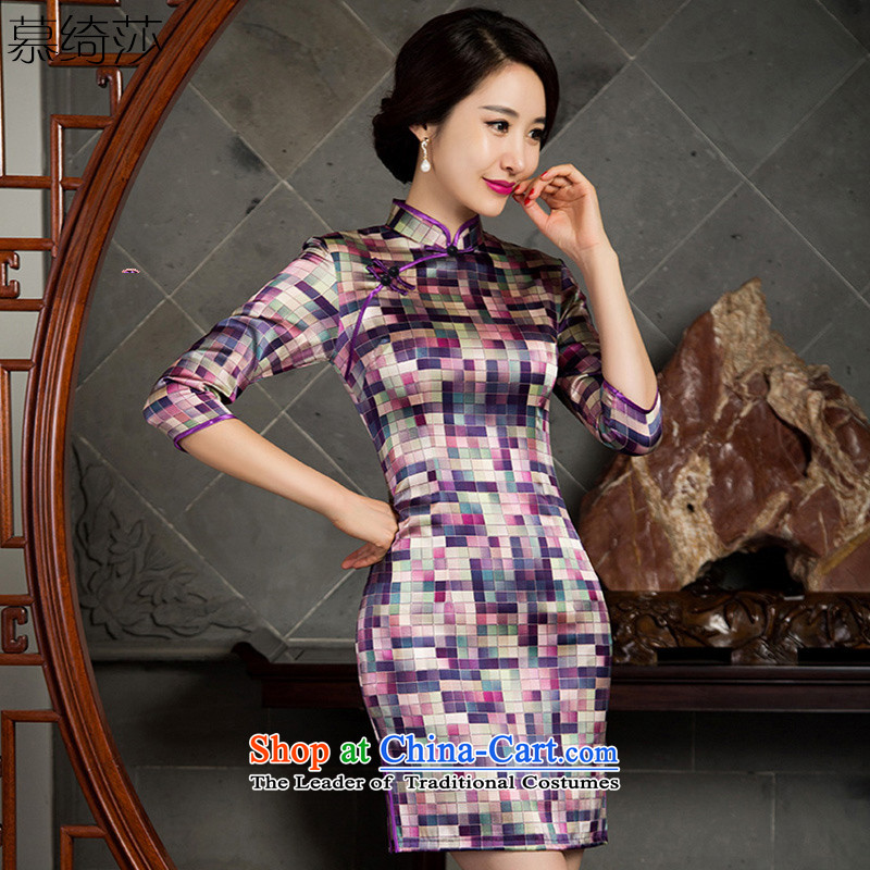 The first of the year 2015 as the Mona Lisa heavyweight silk cheongsam dress new stylish retro fitted qipao seven autumn Silk Cheongsam cuff dresses SZ3S00 PURPLE XL