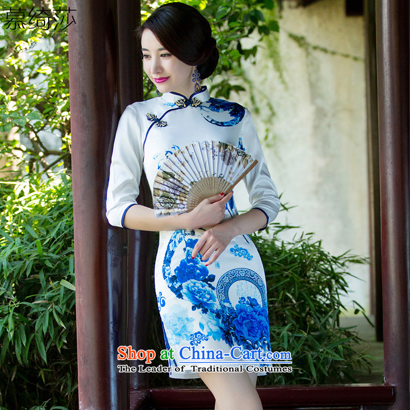 The cross-Sha Chau replacing qipao celadon improved retro style 7 double cuff porcelain cheongsam dress the new Chinese female燬Z3C004爌icture color燬
