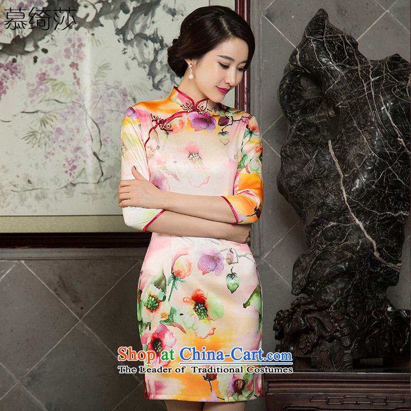 The cross-over?2015 retro-yeon Elizabeth stylish new cheongsam dress was improved qipao decorated autumn dresses cheongsam dress?SZ3C005 double?Orange?S