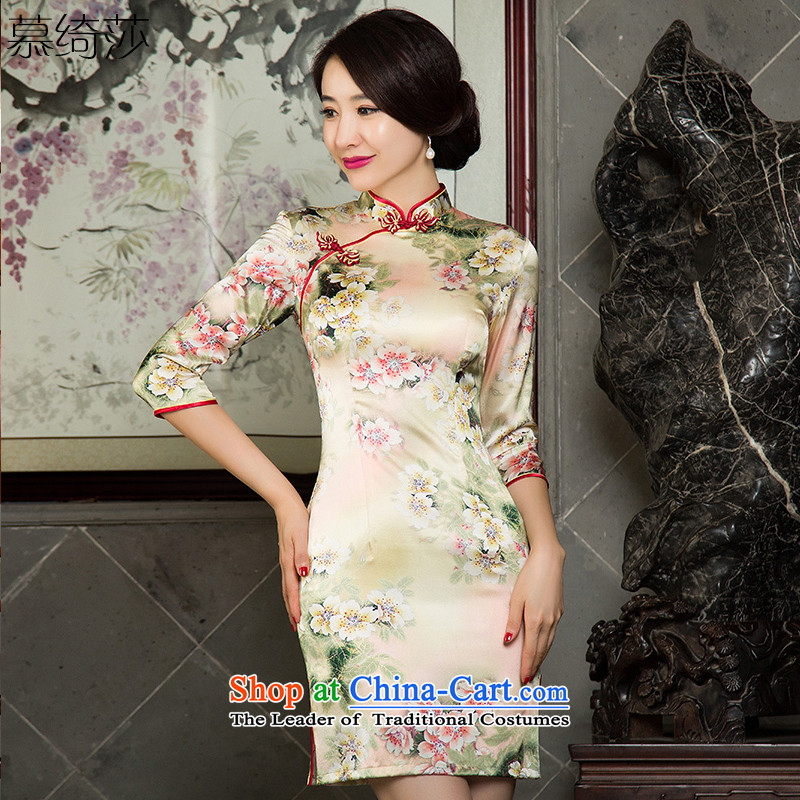 The cross-sa Lt. Blue 2015 heavyweight Silk Cheongsam with improved cheongsam dress autumn New Silk Cheongsam dress in dos Santos cuff SZ3S007 female picture color XL