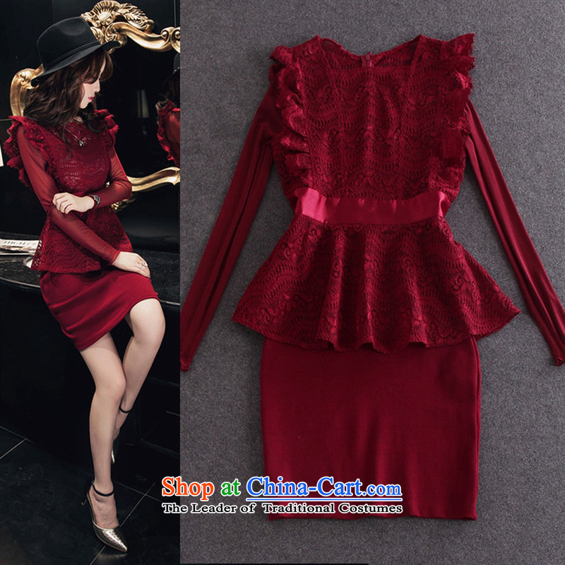 Install the latest Autumn 2015 Hami, Western women Lace Embroidery + long-sleeved T-shirt billowy flounces dresses two kits wine red L