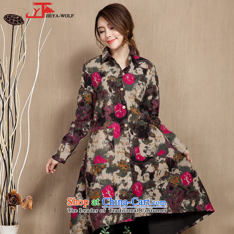 Tang Dynasty JIEYA-WOLF, female spring and fall long-sleeved cotton linen stylish ethnic popular_ Long, Ms. Tang pink?L