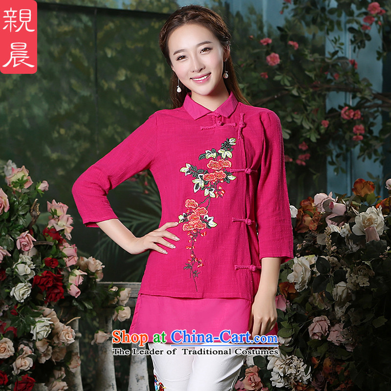 At 2015 new pro-pack Everyday improved stylish autumn 7 cuff cotton of ethnic Chinese women in T-shirt qipao retro red are code