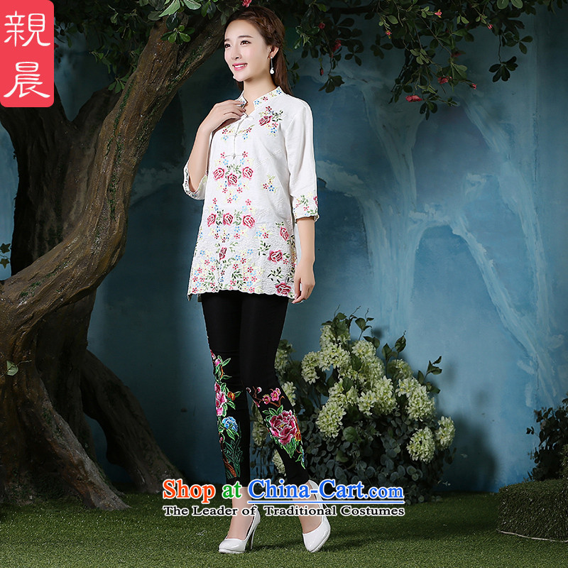 2015 New Large Tang dynasty retro-day short of qipao stylish improved traditional shirt with white linen autumn Ms. + North Pattaya yarn embroidery and black trousers XL