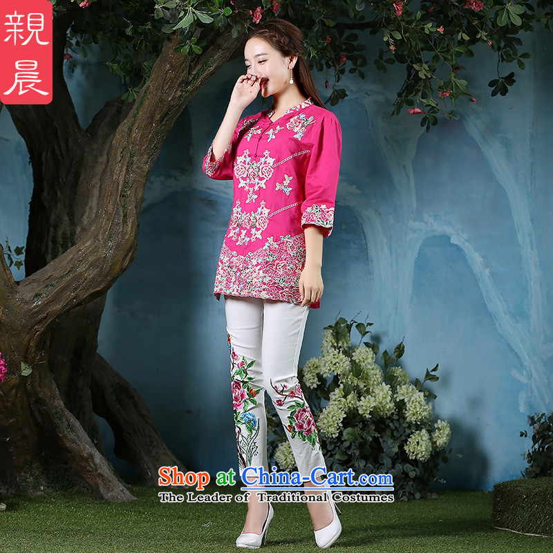 Load the autumn morning pro-2015 new larger shirt retro ethnic Tang Dynasty Chinese cotton linen clothes cheongsam dress in red + North Pattaya yarn embroidery white trousers 2XL