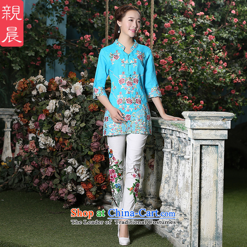 The new 2015 autumn day-to-day large improvements retro style, cuff ethnic Tang dynasty cotton linen dresses shirt Blue + North Pattaya yarn embroidery white trousers L