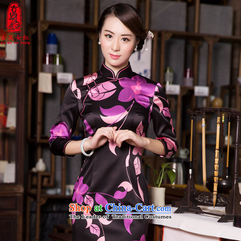 The Wu female red 2015 New Fall/Winter Collections of silk cheongsam dress Sau San-to-day long-sleeved elegant qipao 7 stamp black?XXL