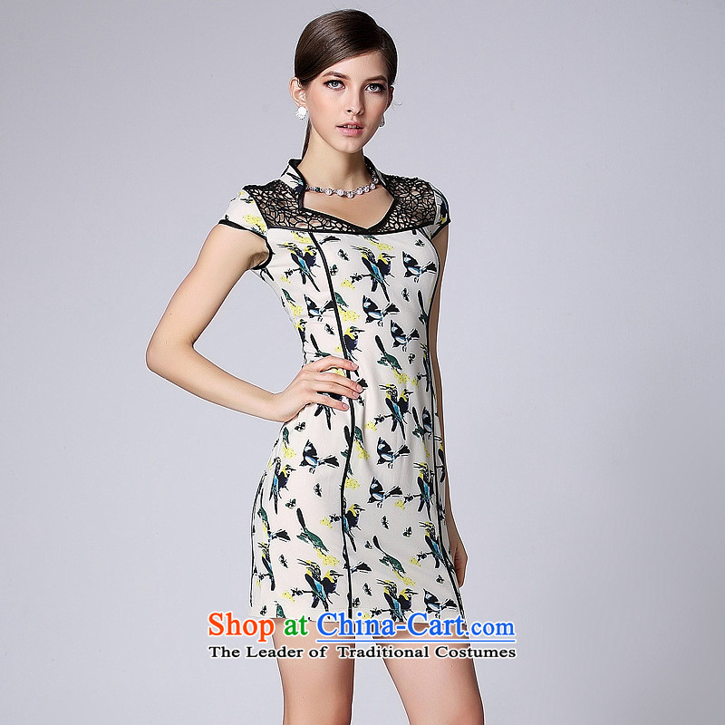 Mano-hwan, a new summer, improved stylish qipao skirt short-sleeved engraving no color picture qipao's?M