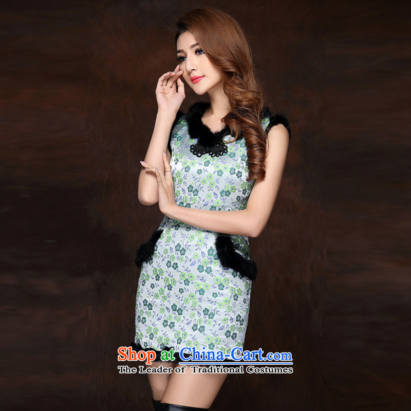 Mano-hwan's autumn and winter new women's improved stylish spell gross sleeveless folder not open COTTON SHORT QIPAO?QF141012's?fruit green?L
