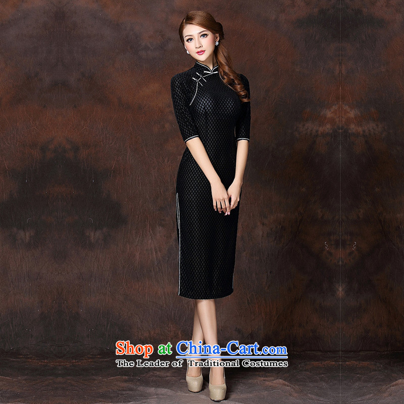Mano-hwan's autumn and winter new women's Stylish retro long) Improved temperament qipao skirt?QF141007 velvet??XXXL black