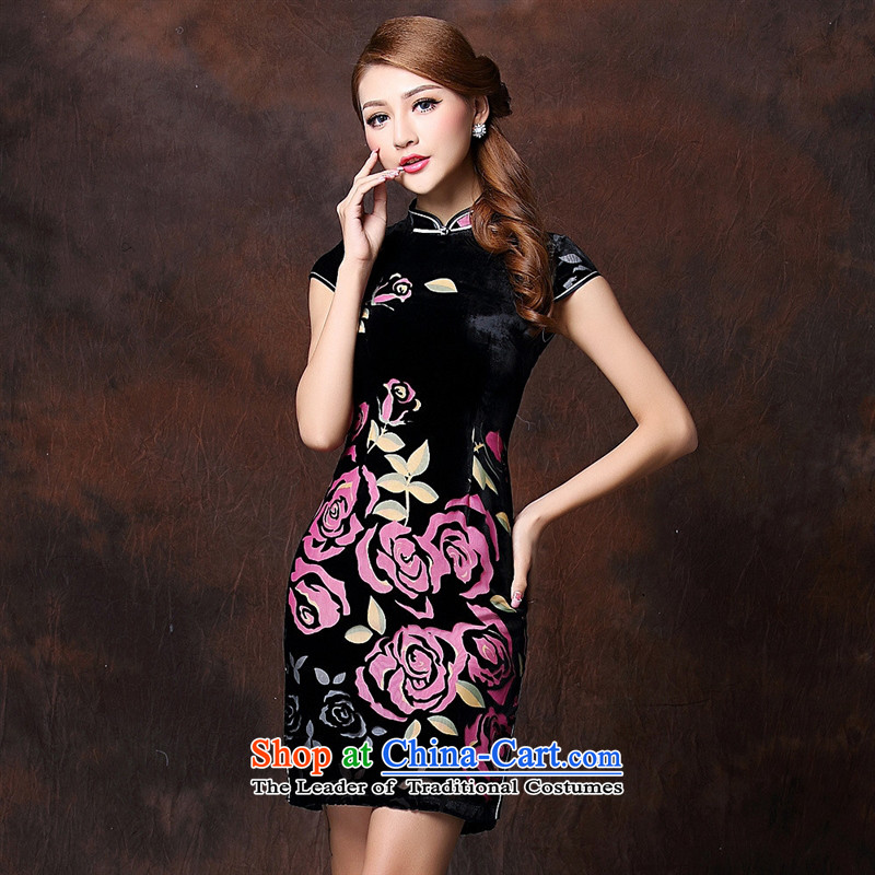 Mano-hwan's new women's Stylish retro herbs extract improved low power's daily short qipao?QF141017 Ms.??XXXL red