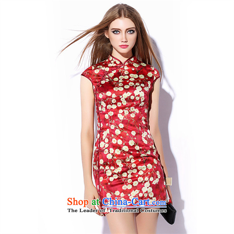 Mano-hwan's 2015 Autumn new improved retro stamp qipao cheongsam dress red Sau San qipao LF20150705 SUIT?L