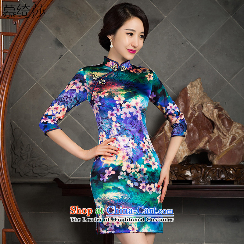 The cross-SA 5 leaves Silk Cheongsam improvements 2015 Stylish retro cheongsam dress new herbs extract seven cheongsam dress SZ3S008 cuff picture color L