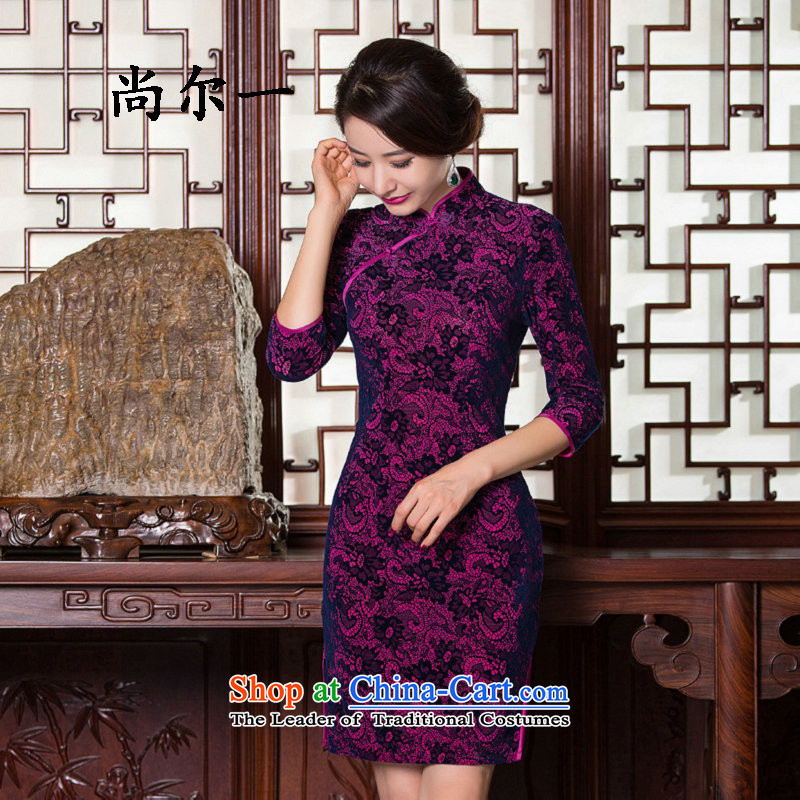 A load spring and autumn naoji Kim qipao short skirt Fashion velvet improvement in Sau San long-sleeved qipao retro SM9147 PURPLE燣