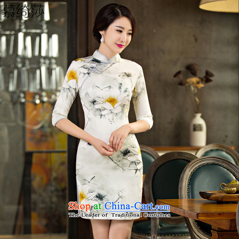 I should be grateful if you would have the cross-sa 2015 improved qipao ink skirt new stylish retro fitted qipao improved Ms. Qiu cheongsam dress Q244 7 DOUBLE, cuff S