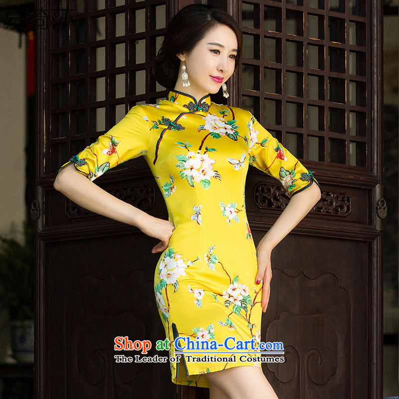 The cheer her robes of the dragon, spend the new improved retro fitted autumn qipao stylish 7 Cuff Ms. double qipao skirt ethnic women SZ3C009 Yellow XL