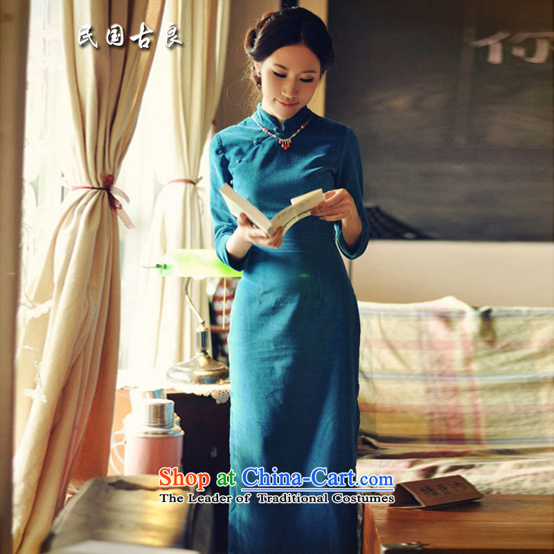 The Republic of Korea 2015 Autumn guryan replacing the new Republic of Korea wind qipao retro improved short of 7 minutes and a mock-neck cuff cheongsam dress dresses blue?XL