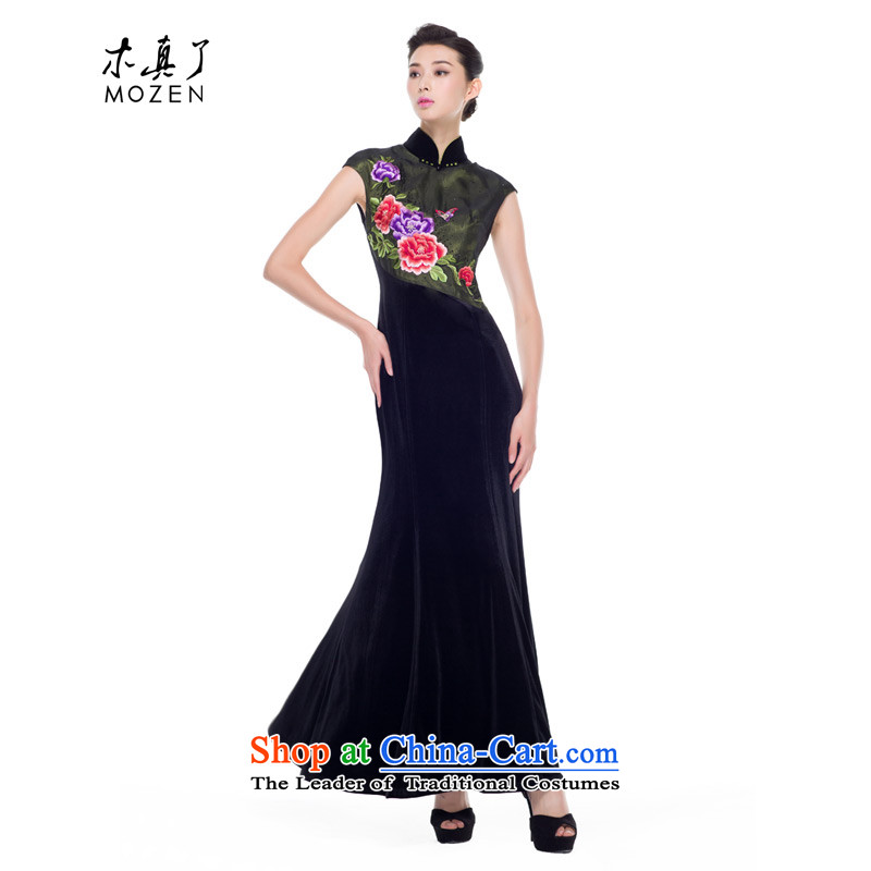 The improvement of qipao wood really new Fall 2015 installed high-end banquet scouring pads embroidery large long gown 43226 01 Black燤