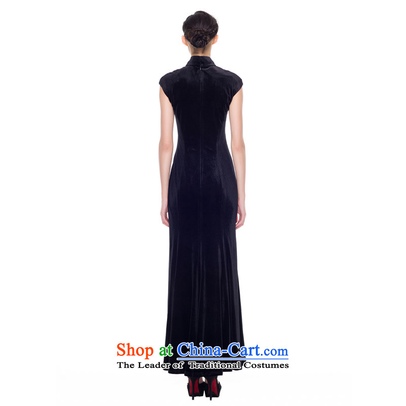 The improvement of qipao wood really new Fall 2015 installed high-end banquet scouring pads embroidery large long gown 43226 01 black聽wood really a , , , M shopping on the Internet