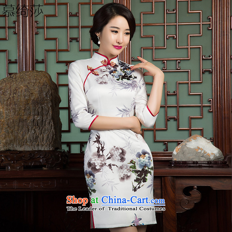 The cross-sa ink bamboo?new cheongsam dress 2015 7 cuff retro style qipao double improved load Ms. paintings autumn SZ3C010 qipao white?S
