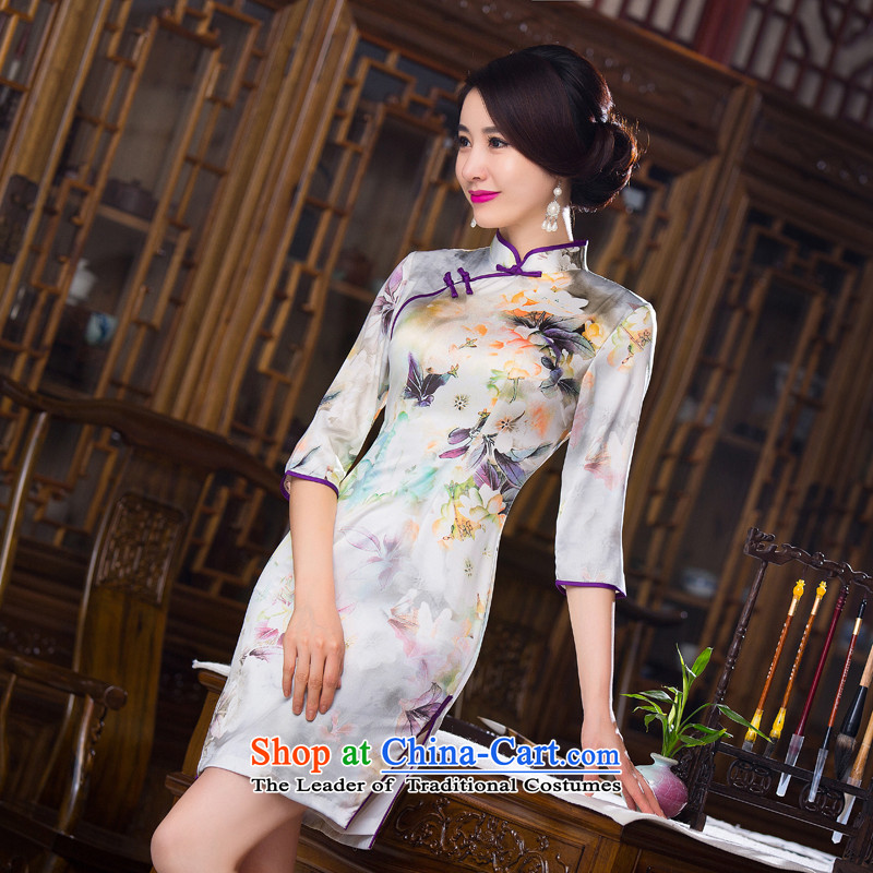 Find Sophie Autumn Women's clothes retro Chinese improved Mock-neck 7 cuff cheongsam dress Silk Cheongsam short as shown in Figure Sau San-color 2XL
