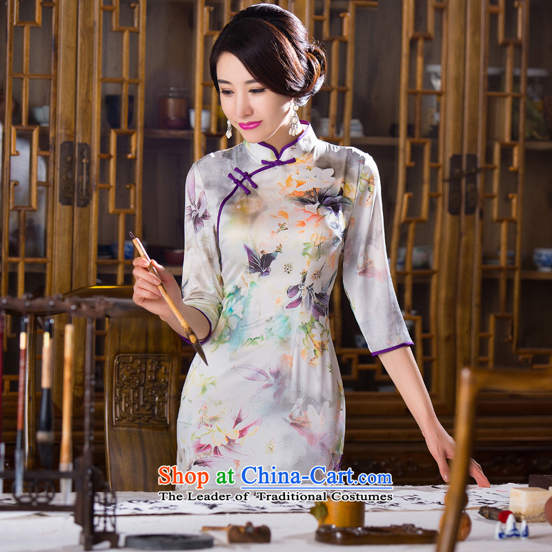 Floral Autumn Women's clothes retro Chinese improved Mock-neck 7 cuff cheongsam dress Silk Cheongsam short as shown in figure _ Color XL