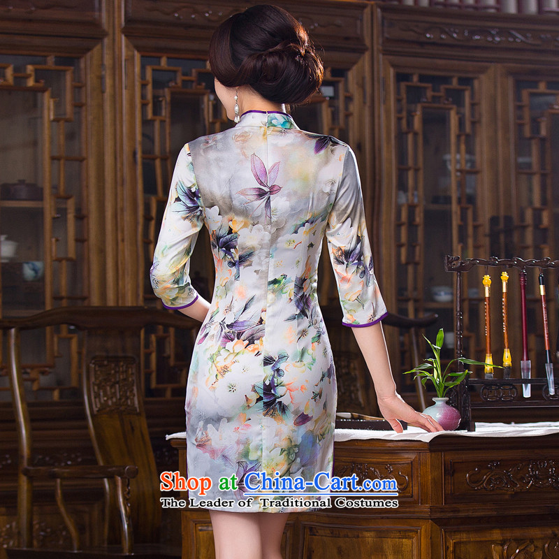 Floral Autumn Women's clothes retro Chinese improved Mock-neck 7 cuff cheongsam dress Silk Cheongsam short as shown in figure ) Color聽XL, floral shopping on the Internet has been pressed.