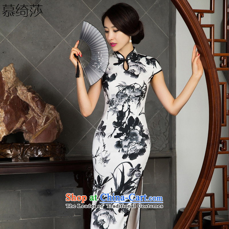 The Windsor ink as long as the fall in the retro fitted qipao elderly mother loaded in the new establishment of qipao long improved cheongsam dress M11022 white S