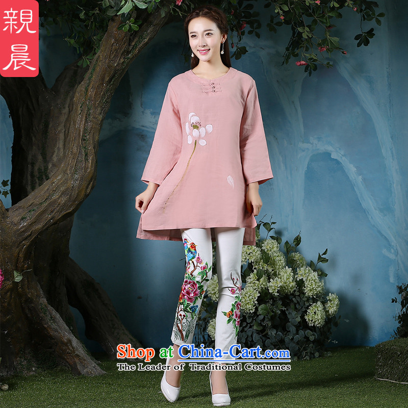 Ms. Tang dynasty morning pro-pack Everyday retro relaxd autumn large long-sleeved cotton linen in Chinese long improved qipao all pink shirt + North Pattaya Elisabeth embroidered white pants M