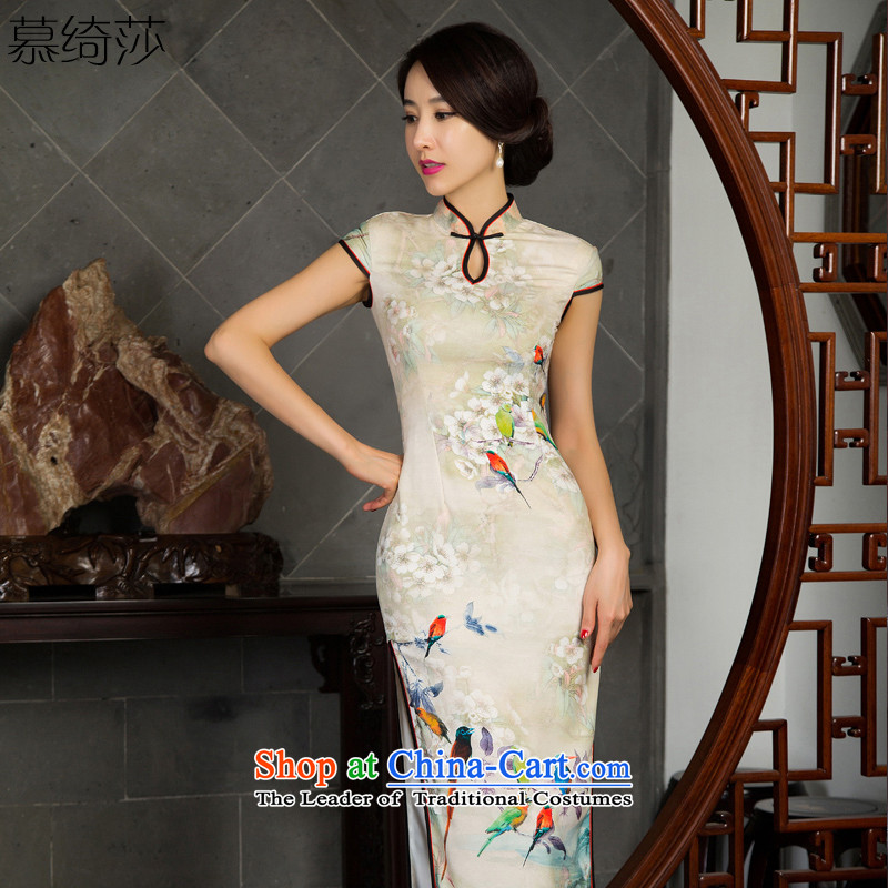 The cross-SA 7 Color�2015 Long cheongsam dress birds in the improvement of elderly mother qipao autumn in long cheongsam dress�M11024�picture color�XL