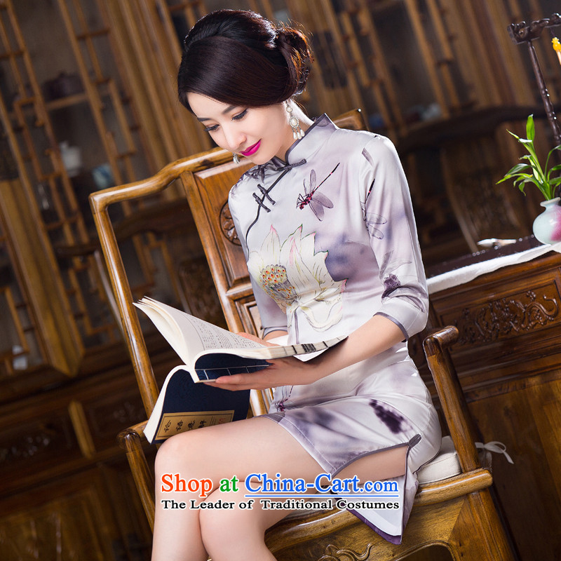 Floral?autumn 2015 Women's clothes Chinese collar is pressed to improved silk retro Sau San 7 Cuff Figure Color qipao skirt?XL