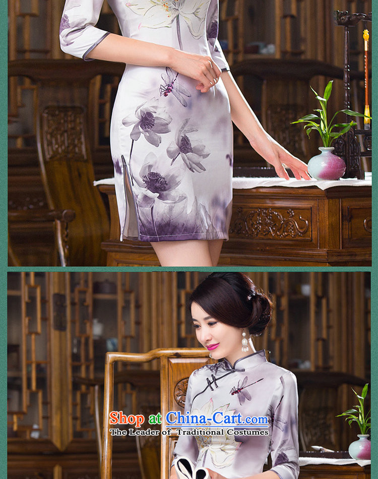 Dan smoke聽Women's clothes autumn 2015 Chinese collar is pressed to improved silk retro Sau San 7 Cuff Figure Color qipao skirt聽L picture, prices, brand platters! The elections are supplied in the national character of distribution, so action, buy now enjoy more preferential! As soon as possible.