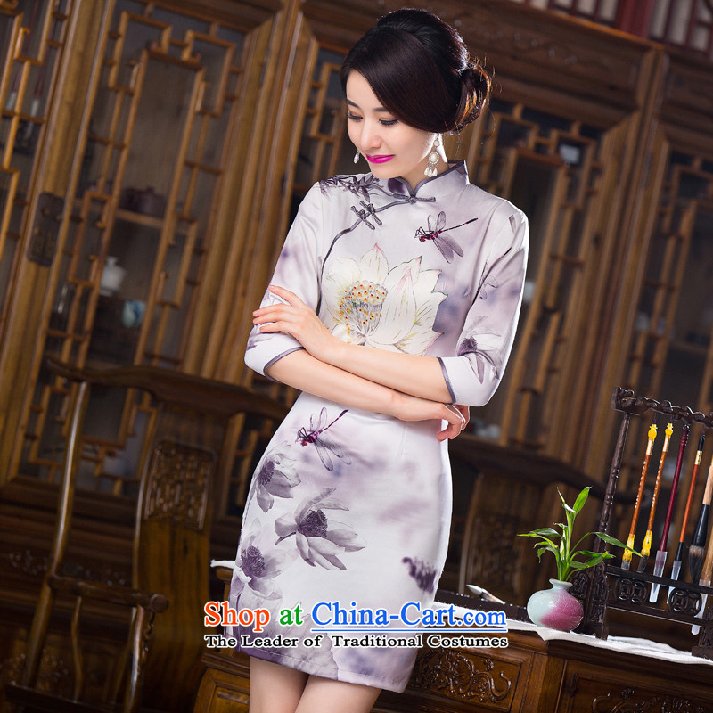 Dan smoke聽Women's clothes autumn 2015 Chinese collar is pressed to improved silk retro Sau San 7 Cuff Figure Color qipao skirt聽L