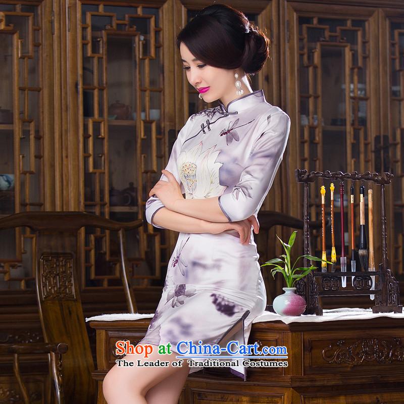Dan smoke聽Women's clothes autumn 2015 Chinese collar is pressed to improved silk retro Sau San 7 Cuff Figure Color qipao skirts聽, L, Dan Smoke , , , shopping on the Internet
