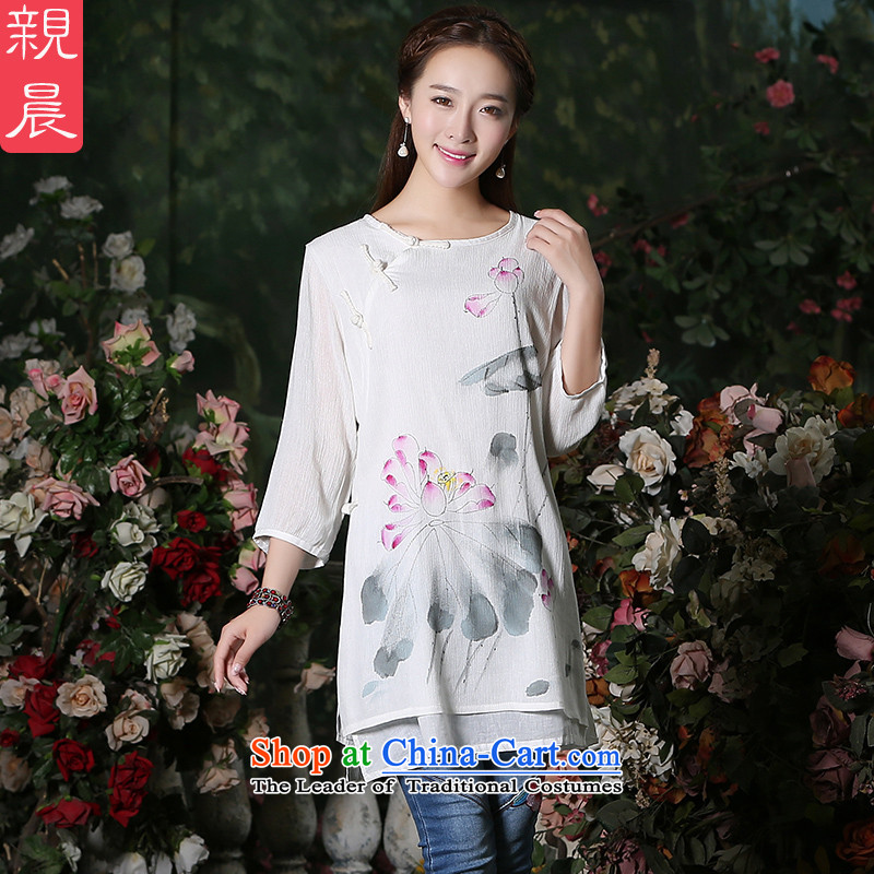 The pro-am improved day-to-day 2015 New Chinese Tang dynasty in the autumn long cotton linen Couture fashion sweater knit sweater 7 qipao sleeves code