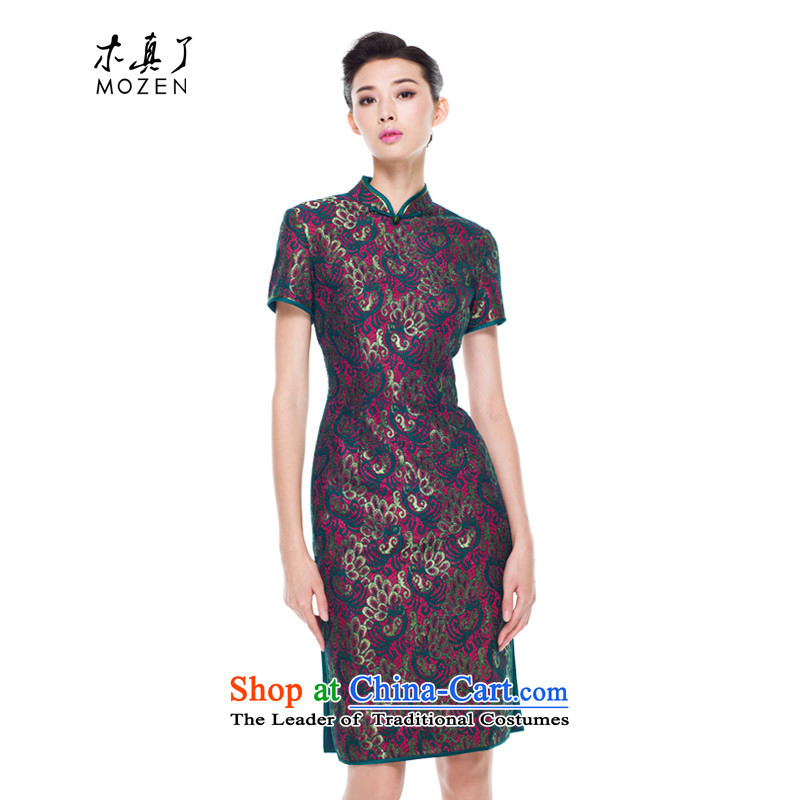 The cheongsam dress wood really 2015 New Product Green Kim thread water-soluble embroidery lace cheongsam dress 43159 14 deep green�S