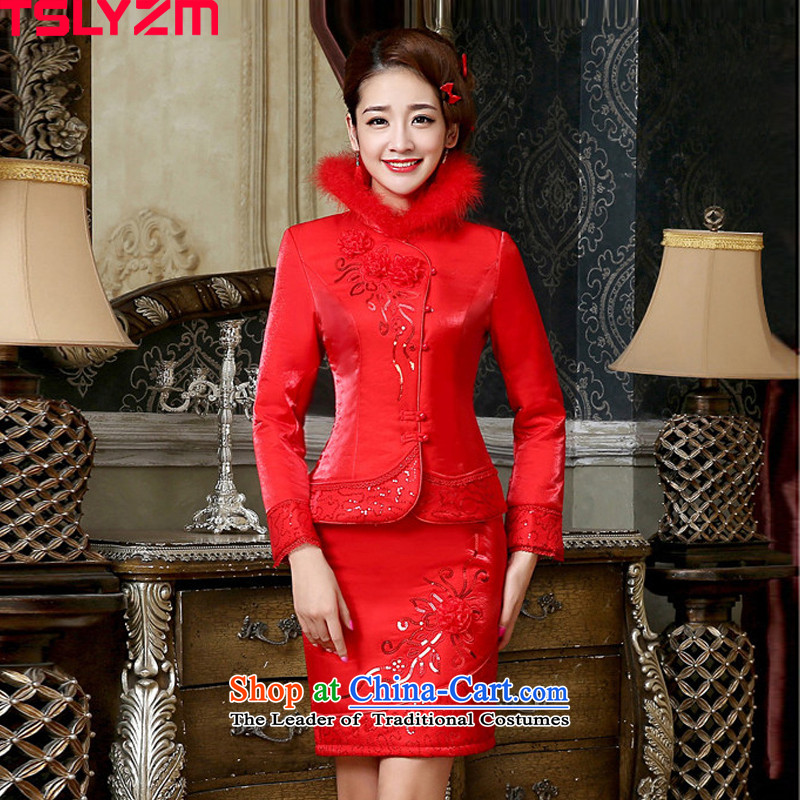 Cotton qipao bride toasting champagne tslyzm Service, 2015 autumn and winter new gross for thick red kit package and the lift mast to Sau San video thin red燲XXL short skirt