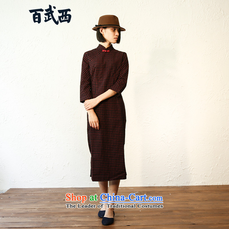 Momotake West�autumn 2015 installed in literary and artistic Plaid Sau San long cotton latticed cheongsam dress T4218 female Red,�M