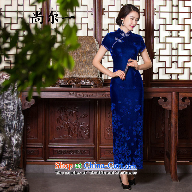 Yet a mother wedding cheongsam dress long stitching Kim spent the day-to-day qipao velvet Embroidery Apron SM9153 BLUE燲L