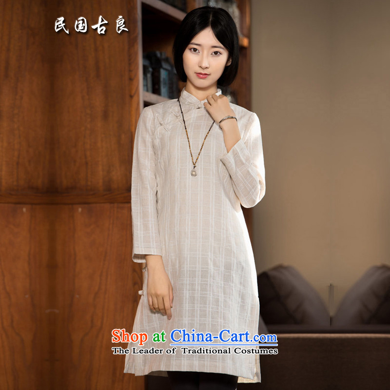 The Republic of Korea guryan autumn 2015 new cotton linen dress Chinese improved long-sleeved tray snap grid style qipao ethnic arts light color Ma Tei燤