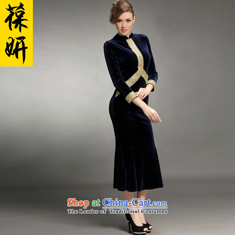 Charlene Choi 2015 Autumn and Winter 'women's dresses retro ethnic qipao?13406 Sau San?dark blue velvet crowsfoot?L
