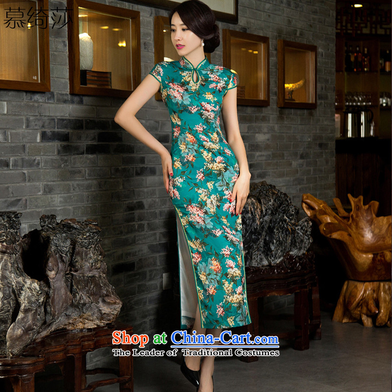 The cross-sa-gye?2015 Long New Stylish retro style qipao and improved in the autumn of qipao cheongsam dress Ms. long gown?m11033 qipao?green?XL