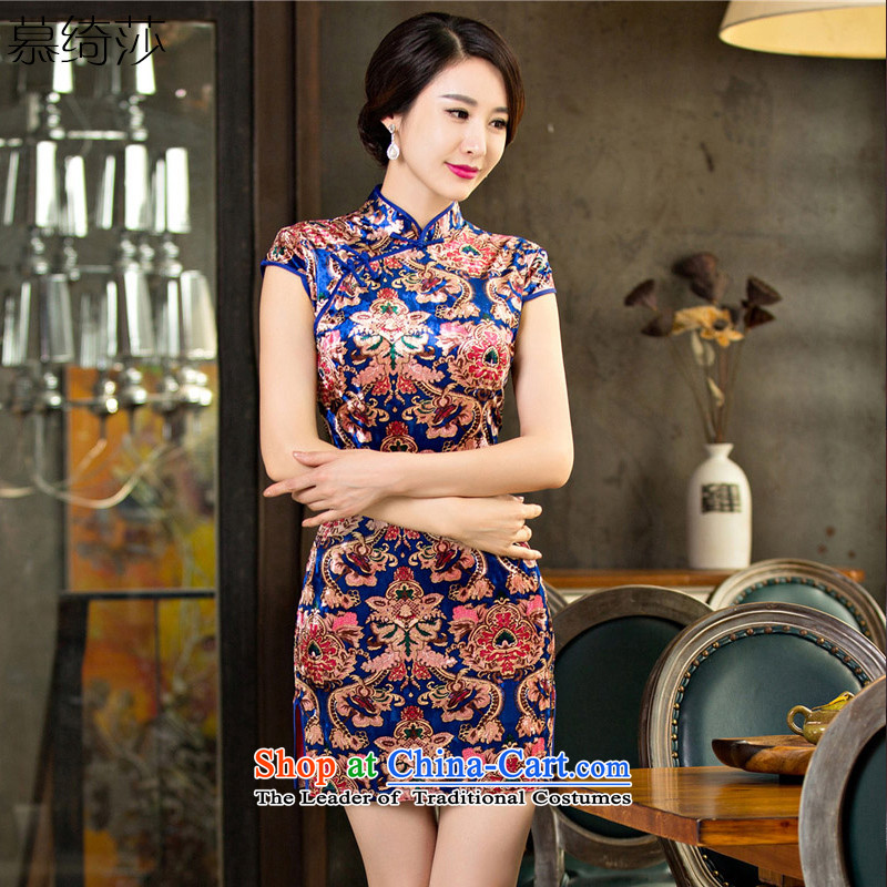 The cross-SHA JING CHU load qipao headquarters scouring pads in stylish retro fitted cheongsam dress older Mother New temperament cheongsam dress?T65097?picture color?M