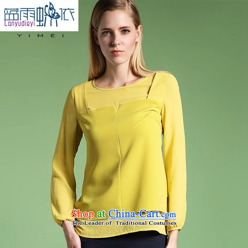 The main large 2015 women fall of higher-end female double Population Commission long-sleeved T-shirt, forming the new autumn female shirt Yellow M